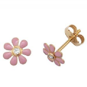 9ct Gold Cubic Zirconia and pink enamelled flower Stud Earrings
